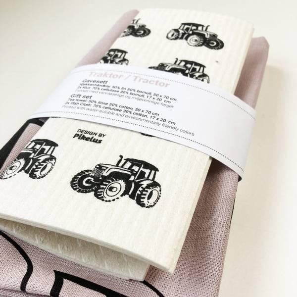 Pikelus kjøkkenhåndkle + 2 pk klut, traktor dusty pink